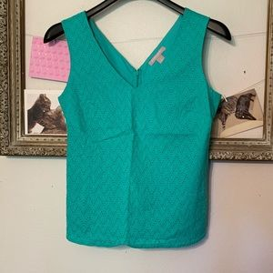 Banana Republic Teal Eyelet Tank Top Size 8